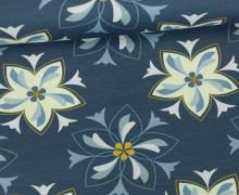 Jersey - Delft - Blumen - Blüten - Indigoblau - Seed & Story