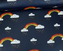 Leichter Regenjacken Stoff - Regencape - Colorful Rain Clouds - Regenbogen - Nachtblau