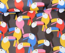 Leichter Regenjacken Stoff - Regencape - Tucan Party - Vogel - Grau