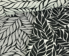 Jacquard Stoff - Double Face - Laurierdos - Blätter - Amor de Tela - Schwarz/Grau