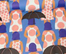 Leichter Regenjacken Stoff - Regencape - Madame Umbrella - Regenschirm - Blau