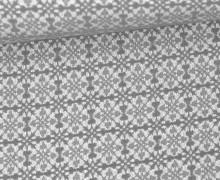 Jacquard Stoff - Lanconic - Quadrate - Amor de Tela - Grau