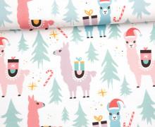 Sommersweat - Bio Qualität - Llama Christmas Party - Weihnachten - weiß -  abby and me