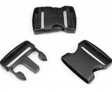 2 Steckschnallen - 50mm - Kunststoff - Schwarz
