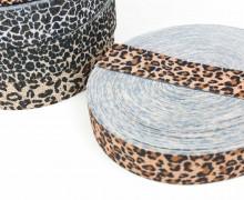 1m Gummiband - elastisch - Glitzer - Leopard - 35mm - Wildlife - Rotbraun