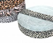 1m Gummiband - elastisch - Glitzer - Leopard - 35mm - Wildlife - Beige/Braun