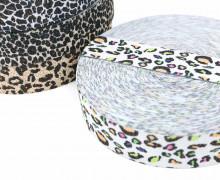 1m Gummiband - elastisch - Glitzer - Leopard - 35mm - Wildlife - Hellgrau/Bunt