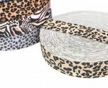 1m Gummiband - elastisch - Glitzer - Leopard - 35mm - Wildlife - Hellbeige/Braun
