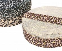 1m Gummiband - elastisch - Glitzer - Gepard - 35mm - Wildlife - Braun