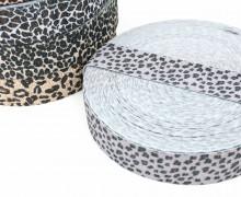 1m Gummiband - elastisch - Glitzer - Gepard - 35mm - Wildlife - Grau