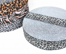1m Gummiband - elastisch - Glitzer - Gepard - 35mm - Wildlife - Hellgrau