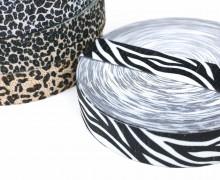 1m Gummiband - elastisch - Glitzer - Zebra - 35mm - Wildlife - Schwarz/Hellgrau