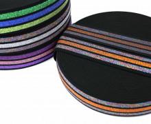 1m Gummiband - elastisch - Glitzer - Streifen - 40mm - Schwarz - Orange