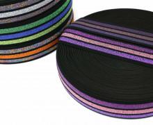 1m Gummiband - elastisch - Glitzer - Streifen - 40mm - Schwarz - Rosa