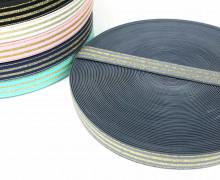 1m Gummiband - elastisch - Glitzer -Streifen - 20mm - Grau