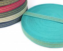 1m Gummiband - elastisch - Glitzer -Streifen - 20mm - Mintblau