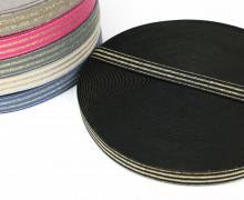 1m Gummiband - elastisch - Glitzer -Streifen - 20mm - Schwarz