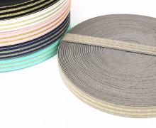 1m Gummiband - elastisch - Glitzer - Streifen - 20mm - Taupe