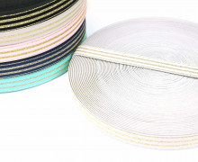 1m Gummiband - elastisch - Glitzer - Streifen - 20mm - Weiß