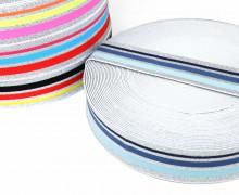 1m Gummiband - elastisch - Glitzer - Streifen - 40mm - Weiß - Hellblau