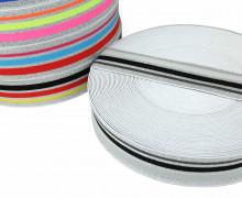 1m Gummiband - elastisch - Glitzer - Streifen - 40mm - Weiß - Hellgrau