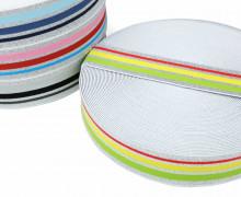 1m Gummiband - elastisch - Glitzer - Streifen - 40mm - Weiß - Hellgrün