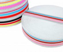 1m Gummiband - elastisch - Glitzer - Streifen - 40mm - Weiß - Rosa