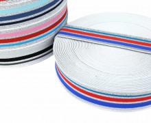 1m Gummiband - elastisch - Glitzer - Streifen - 40mm - Weiß - Royalblau