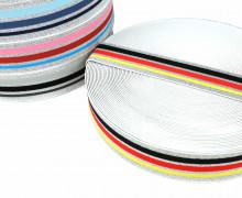 1m Gummiband - elastisch - Glitzer - Streifen - 40mm - Weiß - Schwarz