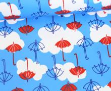 Leichter Regenjacken Stoff - Regencape - Wolken - Regenschirm - Himmelblau
