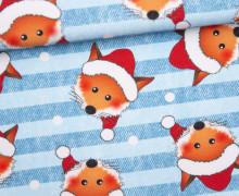 Sommersweat - Bio Qualität - Der kleine Weihnachtsfuchs - Weihnachten - Jeansoptik - Streifen - blau - abby and me