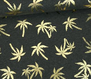 Jersey - Glänzend - Palmen - Shiny Little Things - Dunkelgrau Meliert/Gold