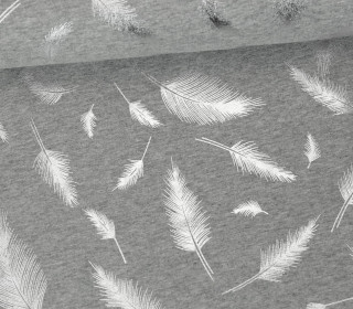 Jersey - Glänzend - Federn - Shiny Little Things - Grau Meliert/Silber