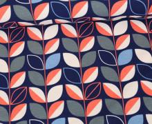 Jersey - Blätterranke - Leaves - Retro Flowers - Dunkelblau