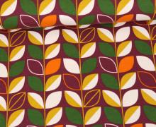 Jersey - Blätterranke - Leaves - Retro Flowers - Weinrot Dunkel