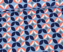Jersey - Abstrakte Blumen - Retro Flowers - Himmelblau