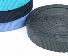 1m Gummiband - elastisch - Wellen - 40mm - Dunkelgrau