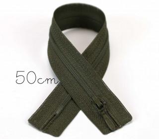 1x50cm Polyesterreißverschluss - Nicht Teilbar - Hochwertig - Opti - Oliv (0542)