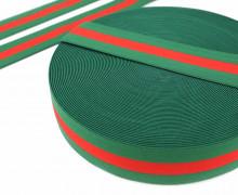 1m Gummiband - elastisch - breite Streifen - 40mm - Rot/Grün