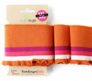Bio-Bündchen - Frill - Check Point - XXL - Cuff Me - Hamburger Liebe - Orange