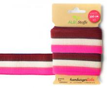 Jacquard-Streifenband - Stripe me - College - Check Point - XXL - Hamburger Liebe - Bordeaux/Weiß