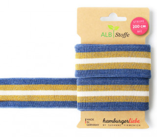 Jacquard-Streifen Band - Stripe me - Glam - Check Point - XXL - Hamburger Liebe - Jeansblau/Gold
