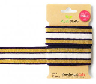 Jacquard-Streifen Band - Stripe me - Glam - Check Point - XXL - Hamburger Liebe - Violett/Gold