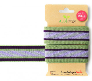 Jacquard-Streifen Band - Stripe me - Icon - Check Point - XXL - Hamburger Liebe - Grün/Lavendel
