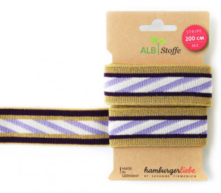 Jacquard-Streifen Band - Stripe me - Icon - Check Point - XXL - Hamburger Liebe - Ocker/Lavendel
