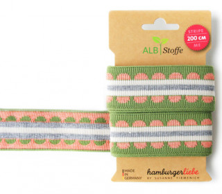 Jacquard-Streifen Band - Stripe me - Icon - Check Point - XXL - Hamburger Liebe - Grün/Rosa