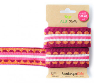 Jacquard-Streifen Band - Stripe me - Icon - Check Point - XXL - Hamburger Liebe - Pink/Orange