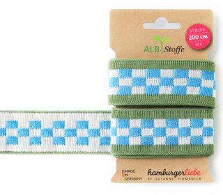 Jacquard-Streifen Band - Stripe me - Icon - Check Point - XXL - Hamburger Liebe - Grün/Blau