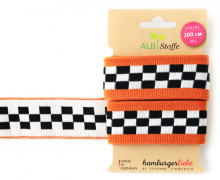 Jacquard-Streifen Band - Stripe me - Icon - Check Point - XXL - Hamburger Liebe - Orange/Schwarz