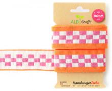 Jacquard-Streifenband - Stripe me - Icon - Check Point - XXL - Hamburger Liebe - Orange/Rosa